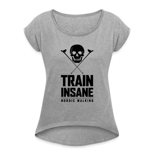 Nordic Walking - Skull - Naisten T-paita, jossa rullatut hihat