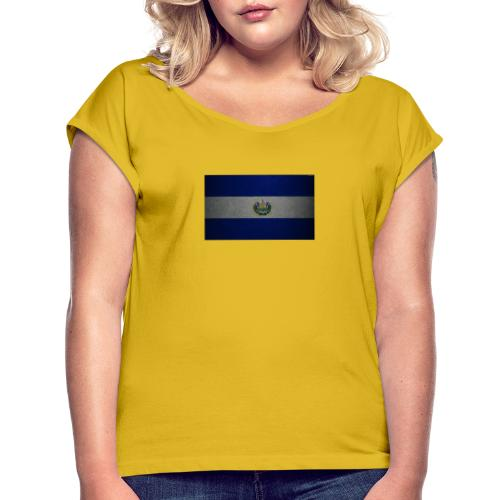 thumb2 flag of el salvador 4k leather texture nort - Camiseta con manga enrollada mujer