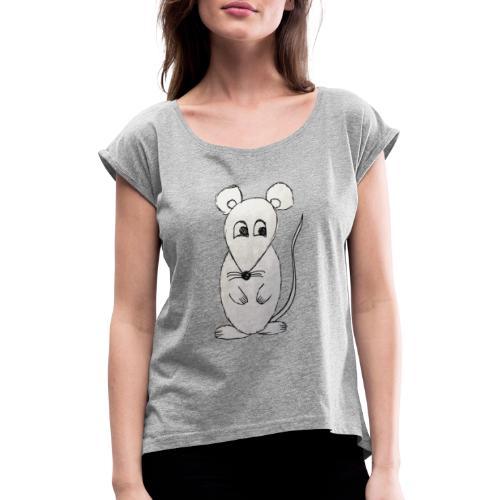 LackyMouse - Frauen T-Shirt mit gerollten Ärmeln