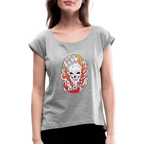 Zykez Totenkopf - Frauen T-Shirt mit gerollten Ärmeln