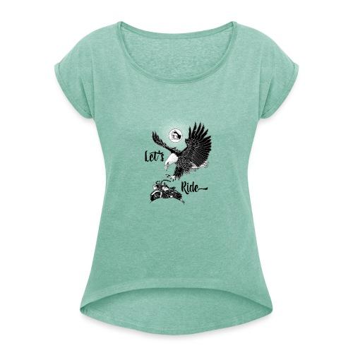 Baldeagle met een panhead - Vrouwen T-shirt met opgerolde mouwen