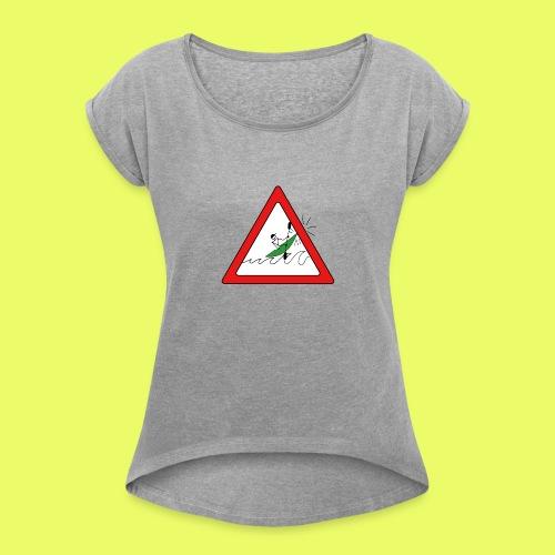 Kajak Unfall im Dreieck - Frauen T-Shirt mit gerollten Ärmeln