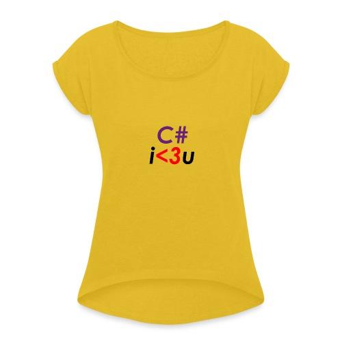 C# is love - Maglietta da donna con risvolti