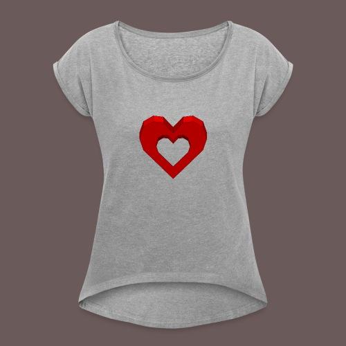 Heart Illusion - Dame T-shirt med rulleærmer