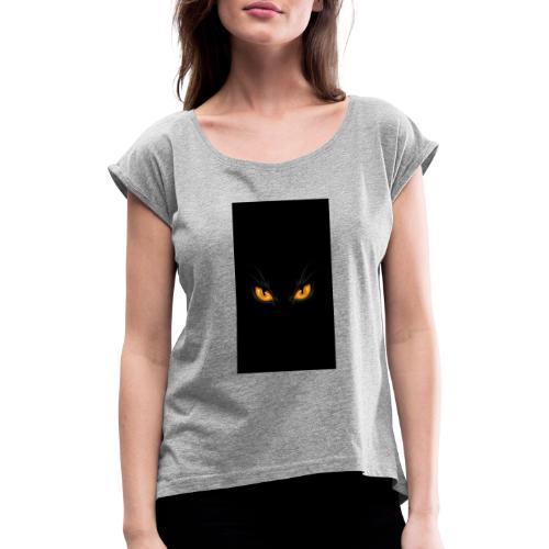 Black cat eye - Frauen T-Shirt mit gerollten Ärmeln