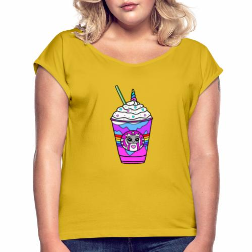 Unicorn Frappacino - Women's T-Shirt with rolled up sleeves