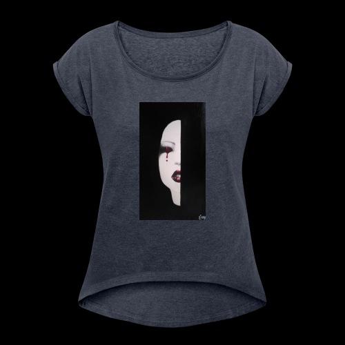 BlackWhitewoman - Maglietta da donna con risvolti