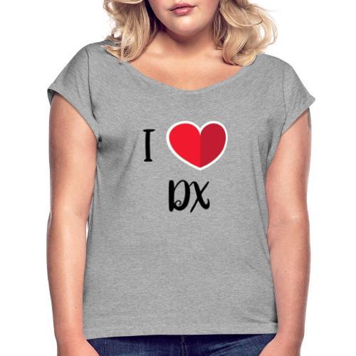 ilove dx black - T-shirt à manches retroussées Femme