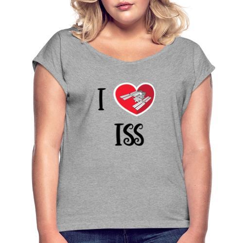 ilove iss black - T-shirt à manches retroussées Femme