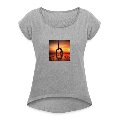 pet yoga - Vrouwen T-shirt met opgerolde mouwen