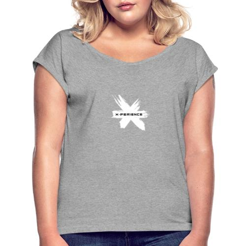x-perience Logo weiß - Frauen T-Shirt mit gerollten Ärmeln