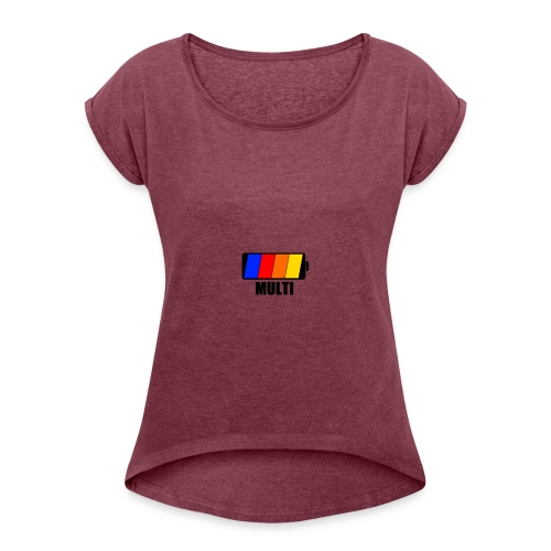 Oluwah-MULTI - Women's T-Shirt with rolled up sleeves