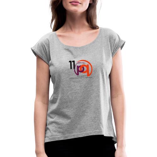 11q_logo_century - Frauen T-Shirt mit gerollten Ärmeln