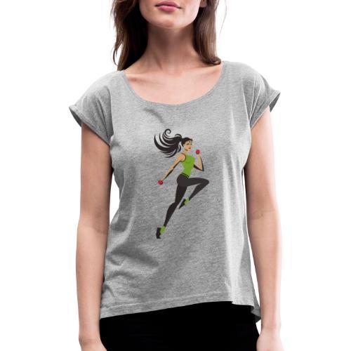 clothes feminine - Camiseta con manga enrollada mujer