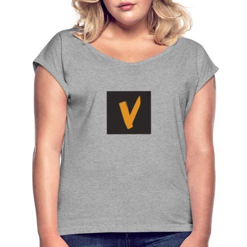new logo - Frauen T-Shirt mit gerollten Ärmeln