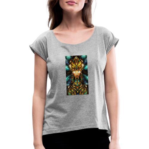 dd3bdcb360bb624804452ee230e1417d - T-shirt med upprullade ärmar dam