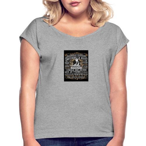 Johnny hallyday diamant peinture Superstar chanteu - T-shirt à manches retroussées Femme