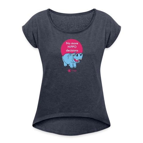 hippo - T-shirt med upprullade ärmar dam