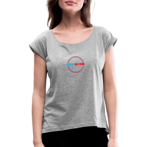 neonschrift rot - Frauen T-Shirt mit gerollten Ärmeln