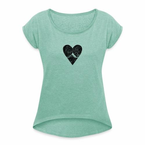 Bergliebe - used / vintage look - Frauen T-Shirt mit gerollten Ärmeln