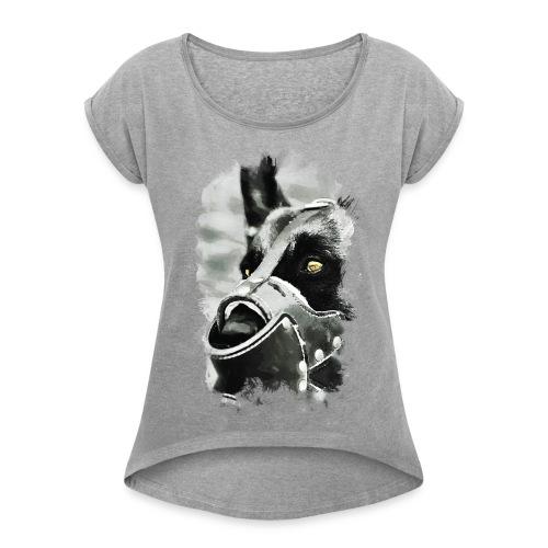 Hundekopf - Frauen T-Shirt mit gerollten Ärmeln