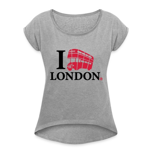 I love (Double-decker bus) London - Women's T-Shirt with rolled up sleeves