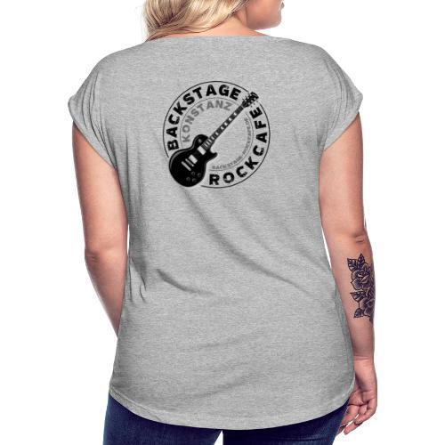 Backstage Logo einfach Schwarz - Frauen T-Shirt mit gerollten Ärmeln