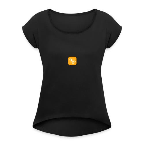 Scherenmotiv - Frauen T-Shirt mit gerollten Ärmeln