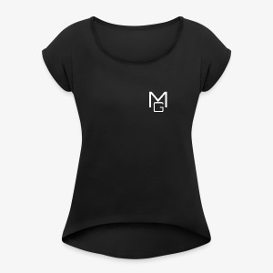 White MG Overlay - Women's T-shirt with rolled up sleeves
