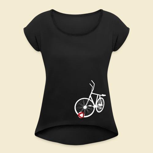 Radball | White - Frauen T-Shirt mit gerollten Ärmeln