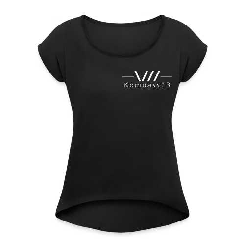 Kompass13 logo - Frauen T-Shirt mit gerollten Ärmeln