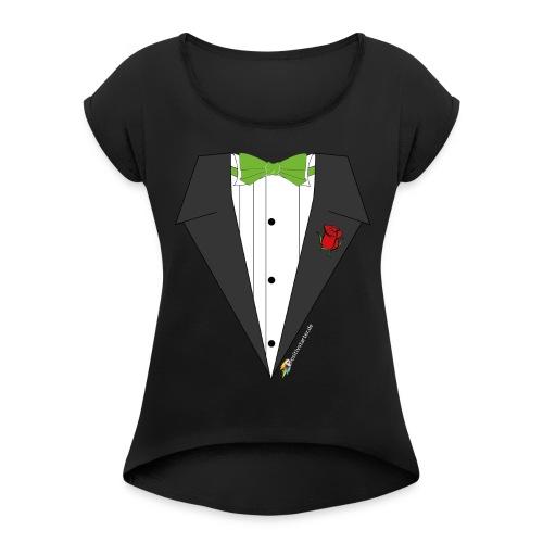 Gala Hero - Positivstarter Official Black Shirt - Frauen T-Shirt mit gerollten Ärmeln