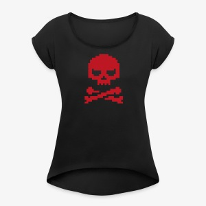 Lords of Uptime Skull - Frauen T-Shirt mit gerollten Ärmeln