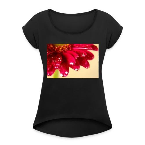 Gerbera - Frauen T-Shirt mit gerollten Ärmeln