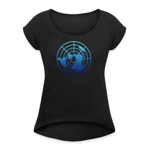 Logo Tierra Plana - Camiseta con manga enrollada mujer
