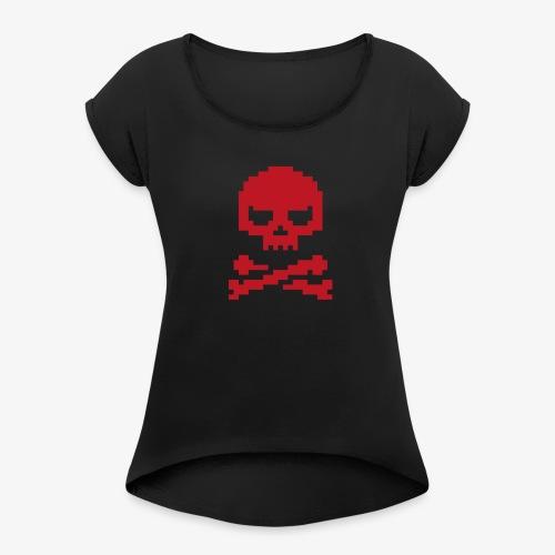 Lords of Uptime Skull - Frauen T-Shirt mit gerollten Ärmeln