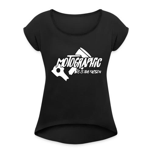 MotoGraphic logo wit zwart - Vrouwen T-shirt met opgerolde mouwen