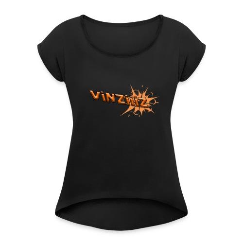 Vinziiiz - T-shirt med upprullade ärmar dam