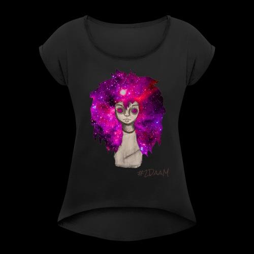 Universe Girl [BLK Edition] - Vrouwen T-shirt met opgerolde mouwen