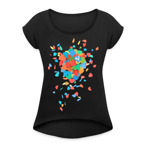 Guitar Pick Explosion - Women's T-Shirt with rolled up sleeves