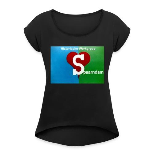 His werk logo 1 - Vrouwen T-shirt met opgerolde mouwen