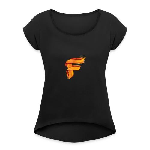 -> - Frauen T-Shirt mit gerollten Ärmeln
