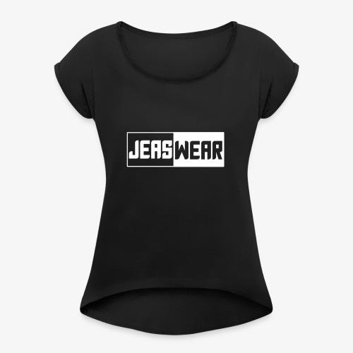 Jeaswear logo - Vrouwen T-shirt met opgerolde mouwen