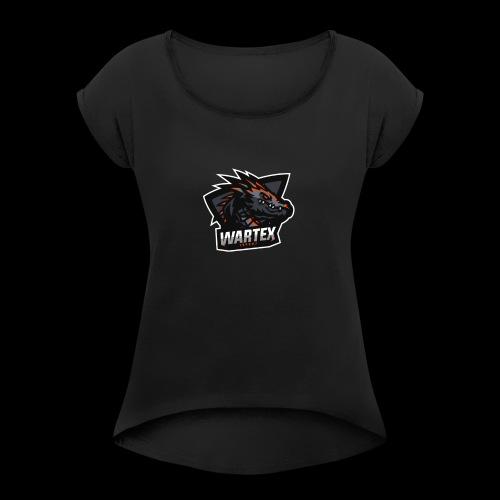 Wartex Logo Weiss - Frauen T-Shirt mit gerollten Ärmeln