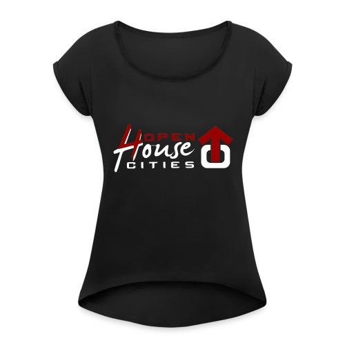 logo weiss - Frauen T-Shirt mit gerollten Ärmeln