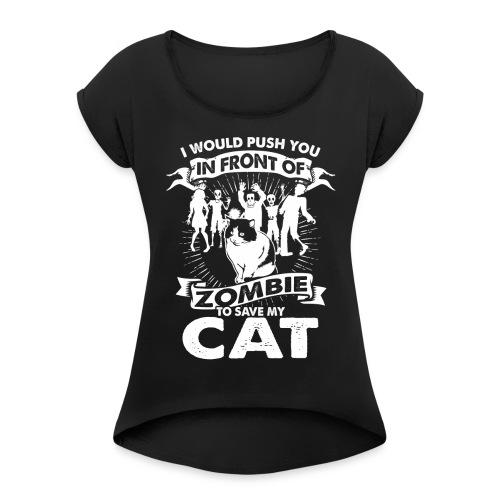 Zombie Cat - Frauen T-Shirt mit gerollten Ärmeln