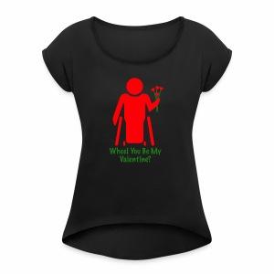 VALENTINE1 - Vrouwen T-shirt met opgerolde mouwen