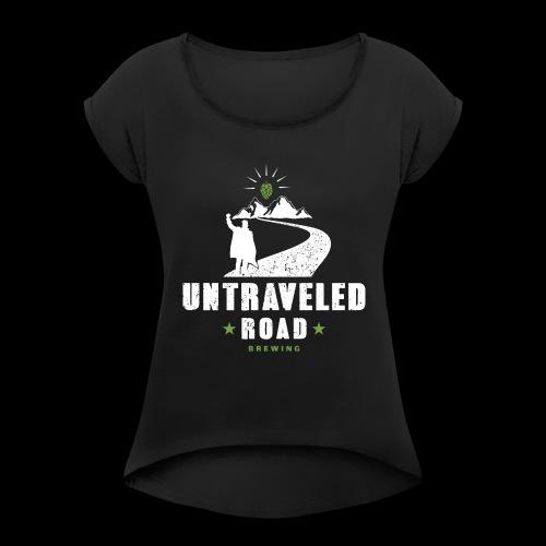Untraveled Road Logo - weiß - Frauen T-Shirt mit gerollten Ärmeln