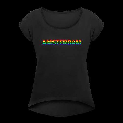 Amsterdam in gay pride rainbow kleuren - Vrouwen T-shirt met opgerolde mouwen