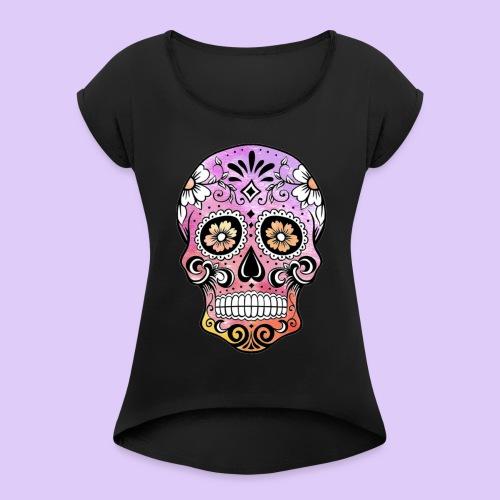 SkullColors - Camiseta con manga enrollada mujer